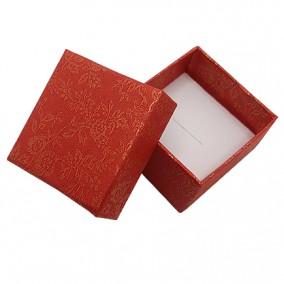 Cutie cadou inel caramiziu flori 5x5x3.5cm