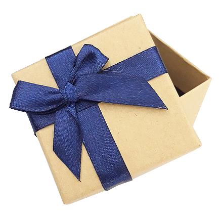 Cutie cadou inel carton natur funda albastra 5x5x3cm