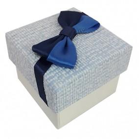 Cutie cadou inel carton tapet funda albastra 5x5x3cm