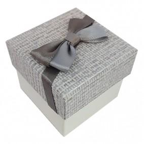 Cutie cadou inel carton tapet funda gri 5x5x3cm