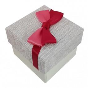 Cutie cadou inel carton tapet funda rosie 5x5x3cm