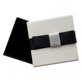Cutie cadou inel cercei alba funda neagra 5x5x3.5cm