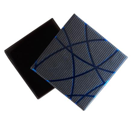 Cutie cadou inel cercei albastru dungi albastre 5x5x3.5cm