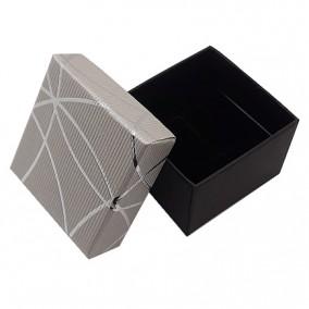 Cutie cadou inel cercei argintie dungi argintii 5x5x3.5cm