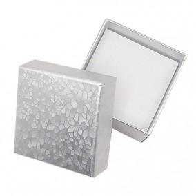 Cutie cadou inel cercei argintiu marmorat 5x5x3,5cm
