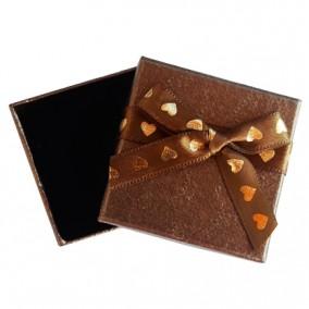 Cutie cadou inel cercei bronz inimi aurii 5x5x3.5cm