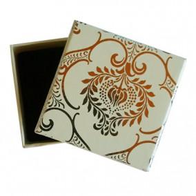 Cutie cadou inel cercei ivoire decor argintiu 5x5x3.5cm