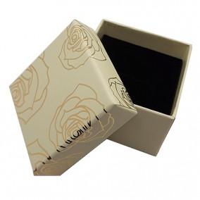 Cutie cadou inel cercei ivoire trandafiri aurii 5x5x3.5cm