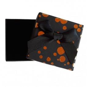Cutie cadou inel cercei neagra buline aurii 5x5x3.5cm