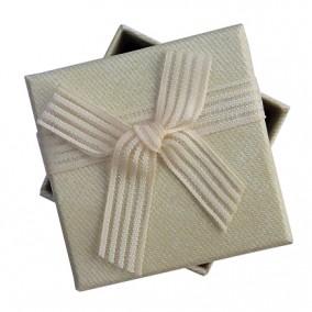 Cutie cadou inel cercei panza sac natur 5x5x3.5cm