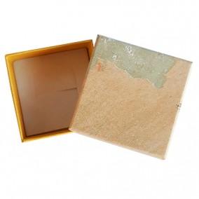 Cutie cadou inel cercei pastel galben 5x5x3.5cm
