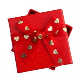 Cutie cadou inel cercei rosie inimi aurii 5x5x3.5cm