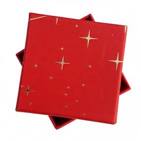 Cutie cadou inel cercei rosie stelute aurii 5x5x3.5cm