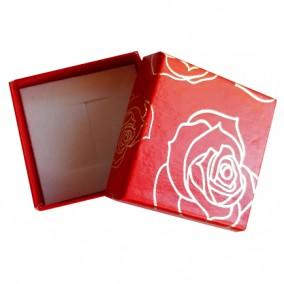 Cutie cadou inel cercei rosie trandafiri aurii 5x5x3.5cm