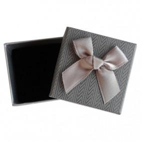 Cutie cadou inel cercei tweed gri 5x5x3.5cm