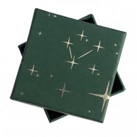 Cutie cadou inel cercei verde stelute aurii 5x5x3.5cm