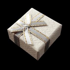 Cutie cadou inel gri funda satin fir auriu 4x4x2.5cm