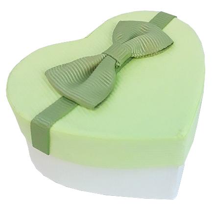 Cutie cadou inel inima verde lime 7x6x3cm