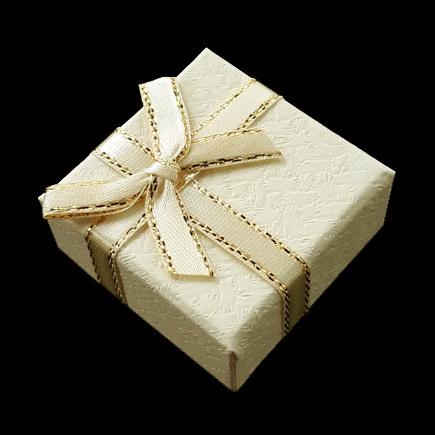 Cutie cadou inel ivoire funda satin fir auriu 4x4x2.5cm