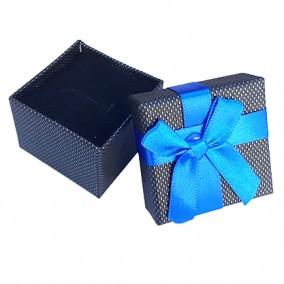 Cutie cadou inel negru funda satin albastru 5x5x3cm