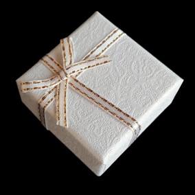 Cutie cadou inel pastel alb 4x4x2.5cm