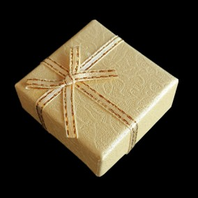 Cutie cadou inel pastel ivoire 4x4x2.5cm
