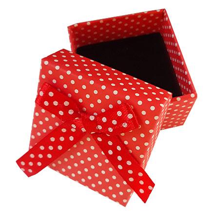 Cutie cadou inel rosie buline albe 5x5x4cm