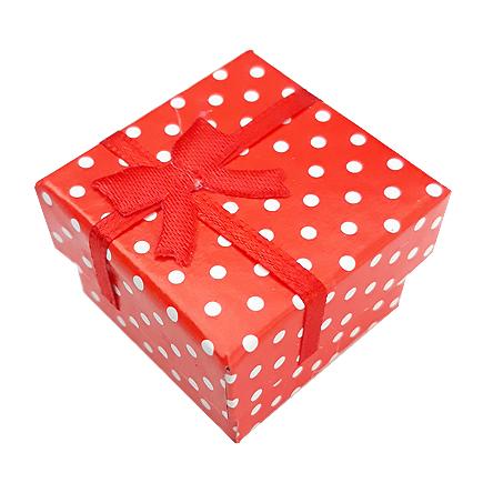 Cutie cadou inel rosu buline 4x4x3cm