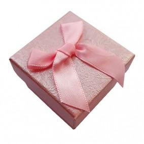 Cutie cadou inel roz funda satin 5x5x3.5cm