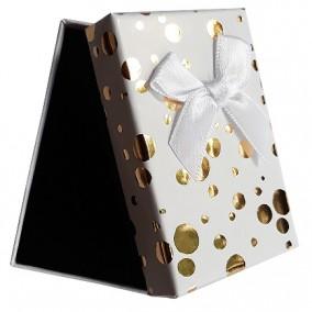 Cutie cadou set bijuterii alb buline aurii 8x5x2.5cm