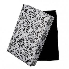 Cutie cadou set bijuterii alb decor negru 8x5x2.5cm