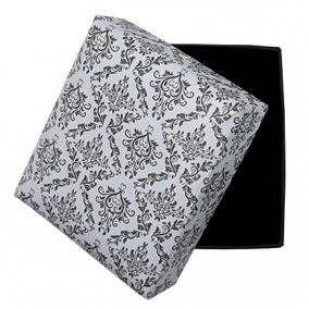 Cutie cadou set bijuterii alb decor negru 8x7x3.5cm