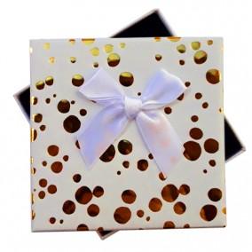 Cutie cadou set bijuterii alba buline aurii 9x9x2.5cm