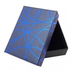 Cutie cadou set bijuterii albastra dungi albastre 9.5x7x2.5cm