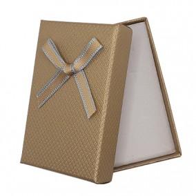 Cutie cadou set bijuterii bej sidefat funda bej 8x5x2,5cm