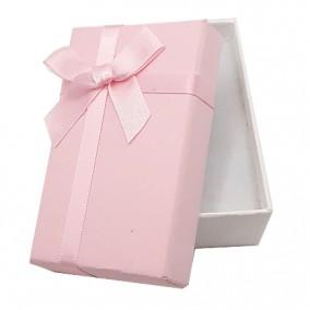 Cutie cadou set bijuterii bicolor alb roz 8x5x3cm