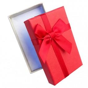 Cutie cadou set bijuterii bicolor gri rosu 8x5x3cm