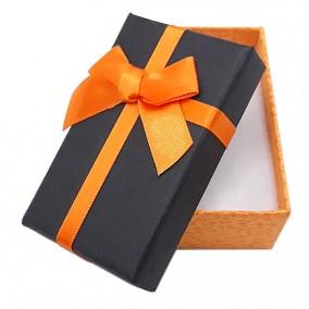 Cutie cadou set bijuterii bicolor oranj negru 8x5x3cm