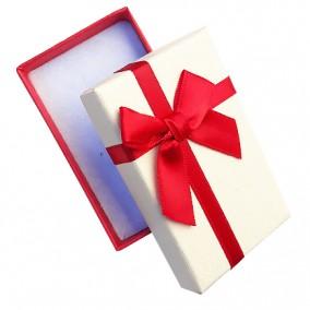 Cutie cadou set bijuterii bicolor rosu ivoire 8x5x3cm