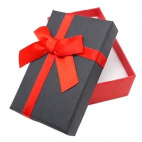 Cutie cadou set bijuterii bicolor rosu negru 8x5x3cm