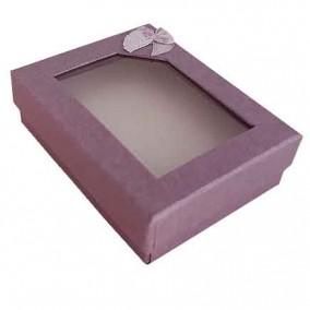 Cutie cadou set bijuterii capac transparent lavanda 8x7x2cm