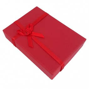 Cutie cadou set bijuterii carton rosu 12x8x3cm