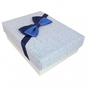 Cutie cadou set bijuterii carton tapet funda albastra 9x7x3cm