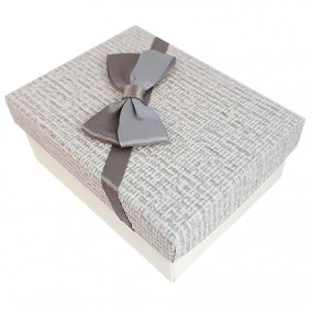 Cutie cadou set bijuterii carton tapet funda gri 9x7x3cm