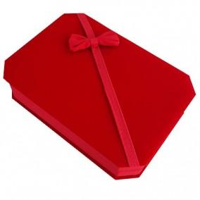 Cutie cadou set bijuterii catifea rosie 18x13x4cm