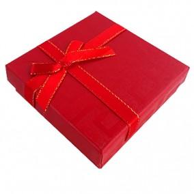 Cutie cadou set bijuterii labirint rosu 9x9x3cm