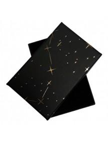 Cutie cadou set bijuterii neagra stelute aurii 8x5x2.5cm