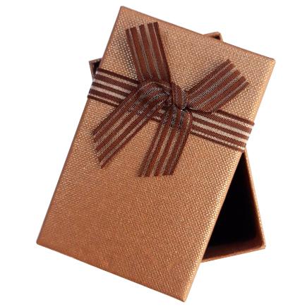 Cutie cadou set bijuterii panza sac maro 8x5x2.5cm