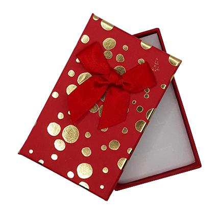 Cutie cadou set bijuterii rosie buline aurii 8x5x2.5cm