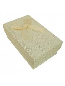 Cutie cadou set bijuterii tweed crem 8x5x3cm